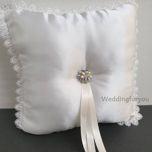 Ivory Wedding Ring Bearer Pillow with Diamante