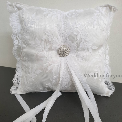 White Lace Wedding Ring Pillow