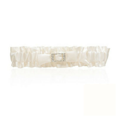 Soft Satin Garter - Ivory Diamante