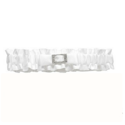 Soft Satin Garter - White Diamante