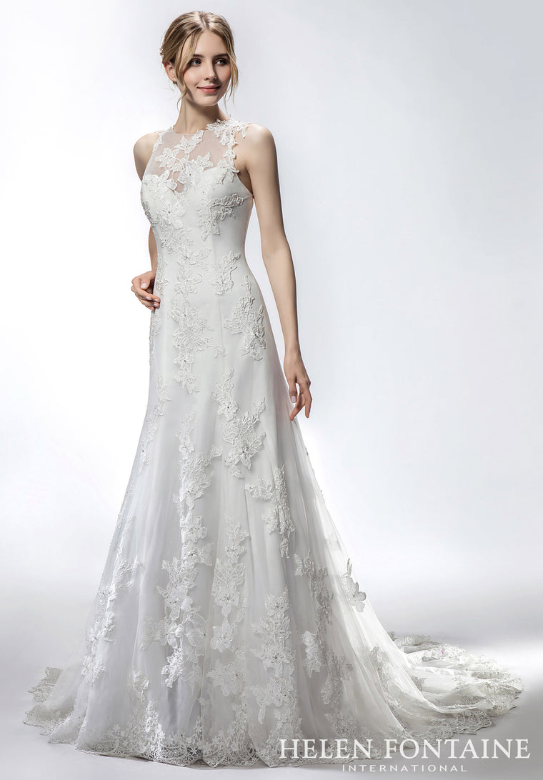 WFY02 - Helen Fontaine -  Sheer Neckline Fit & Flare Bridal Gown