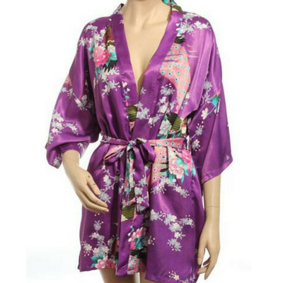 Floral Printed Kimono Gown - Short