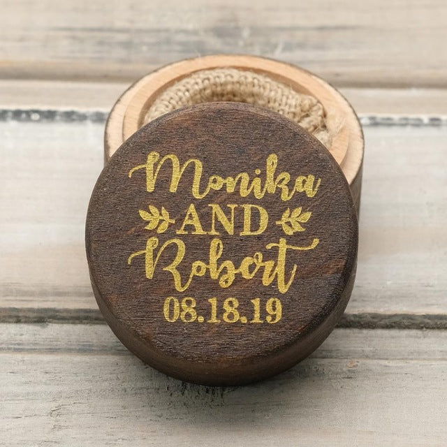 Personalised Rustic Dark Wood Wedding Ring Box Holder with Gold Text