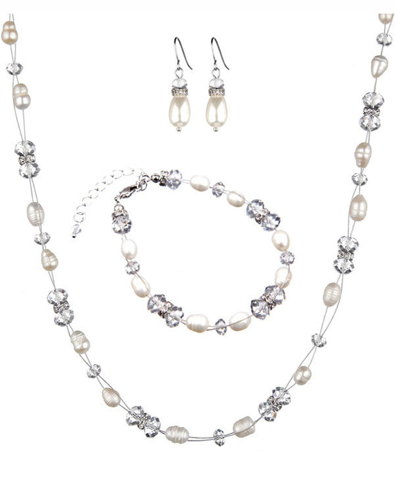 fresh pearl & swarovski crystal jewellery set