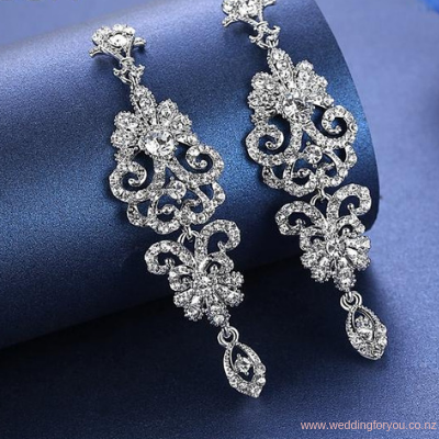 Crystal Drop Glamour Wedding Earrings