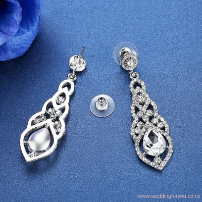 Crystal Water Drop Wedding Earrings