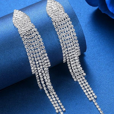 Long Tassel Bridal Earrings