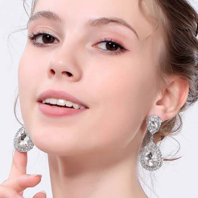 Teardrop Rhinestone Dangle Earrings - 5 Colours