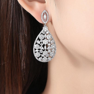 White Gold Colour Water Drop Dangle Earrings