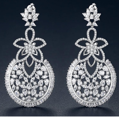 Floral & Circular Shapely Bridal Earrings