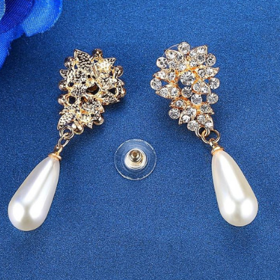 Sophisticated Cluster and Pearl Bridal Drop Earrings
