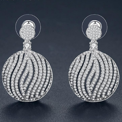 Luxury Micro Round Dangling Earrings