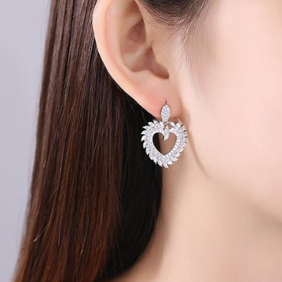 Heart Shaped Wedding Dangle Earrings For the Bride & Bridesmaids