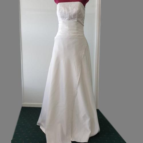 SN21 - White Satin Pleated Bodice Wedding Gown