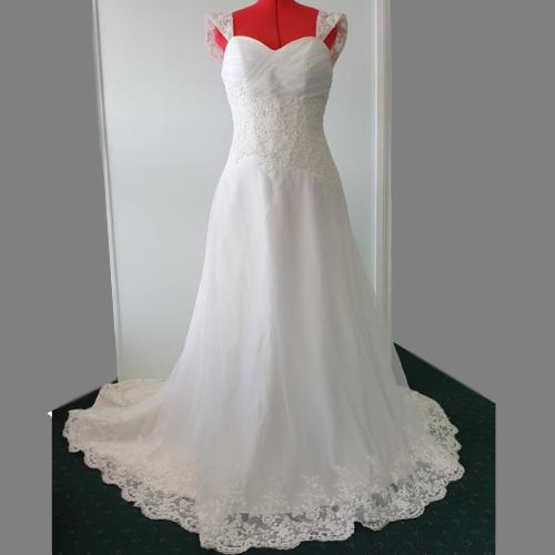 SN22 - Dazzling Ivory A-Line Tie Back Wedding Gown