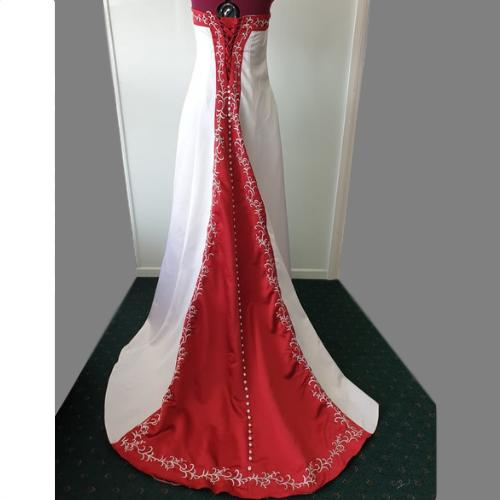 SN23 - Red Patterned Trim Tie Back Wedding Dress