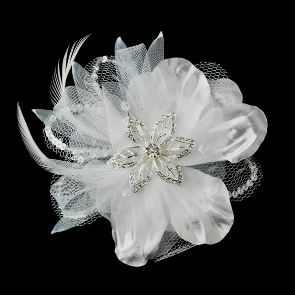 White Crystal Rhinestone Matte Satin & Organza Bridal Flower Hair Clip  with Brooch Pin