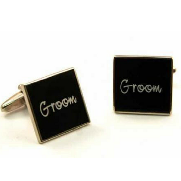 Black with White Text Wedding Cufflinks