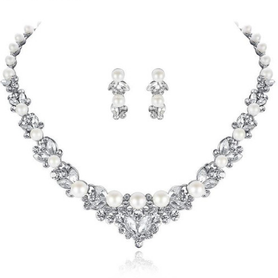 Elegant Simulated Pearl Crystal Leaf Bridal Jewellery Set