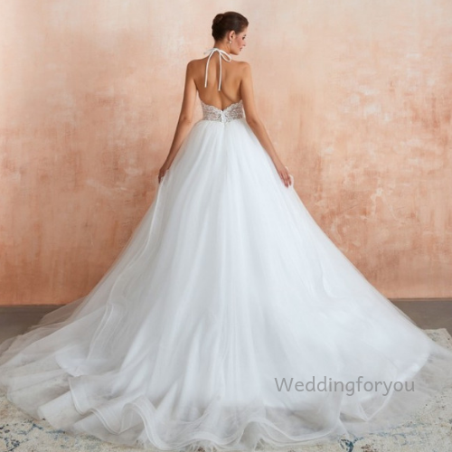 WFY301 - Ball Gown Halter Lace Tulle Bridal Gown