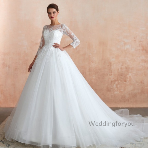 3/4 sleeve ball gown