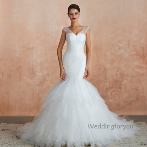 mermaid ruffle wedding dress