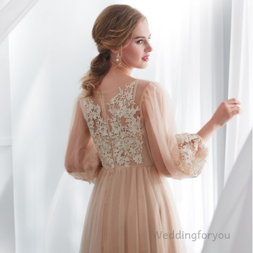 WFY311 - Champagne A-Line Lace Tulle Boho Wedding Dress With Long Sleeves