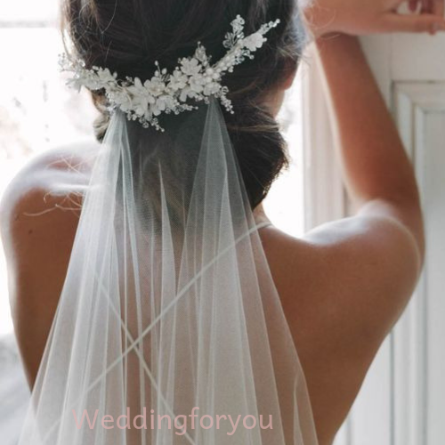 Beaded Edge Wedding Veil with Floral Comb