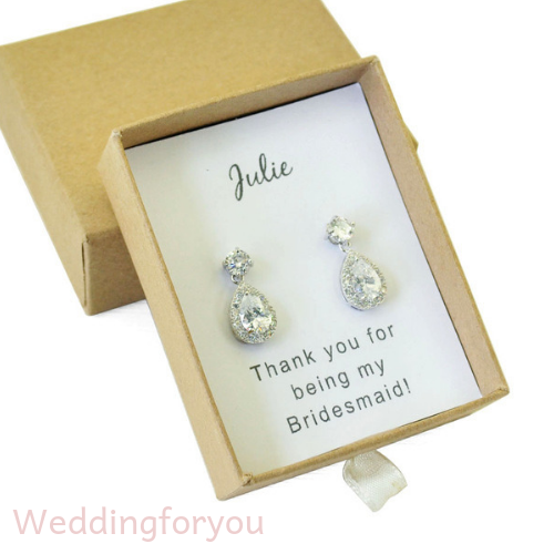 Personalised Bridal Party Gift - Drop Earrings