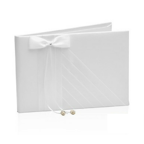 White Satin & Diamante Bead Wedding Guest Book