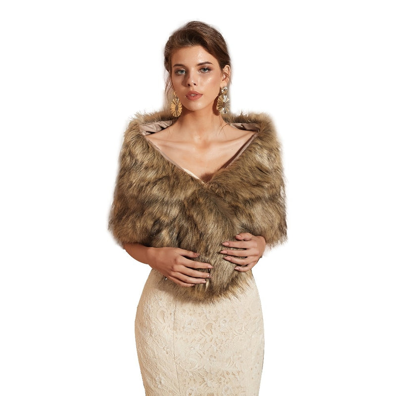 Winter Brown Faux Fur Bridal Wrap