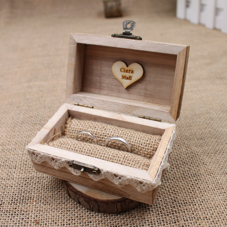 Customised Rustic Wooden Ring Bearer Box
