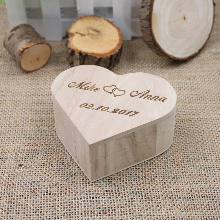 Personalised Rustic Wedding Heart Shape Ring Bearer Box
