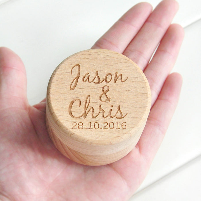 Natural Wood Personalised Rustic Wedding Wood Ring Box Holder