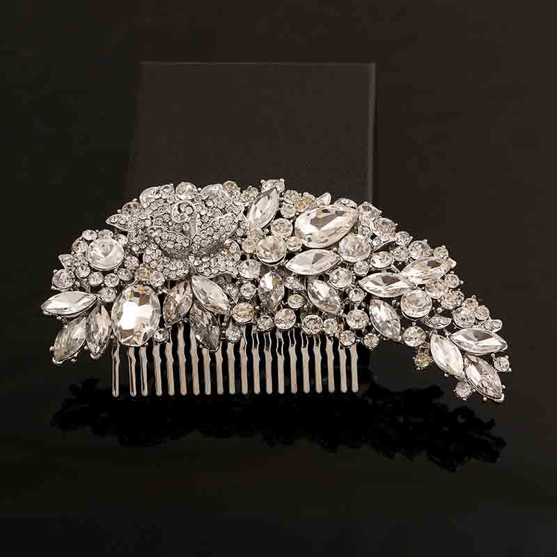 Clear Rhinestone Crystals Wedding Bridal Comb