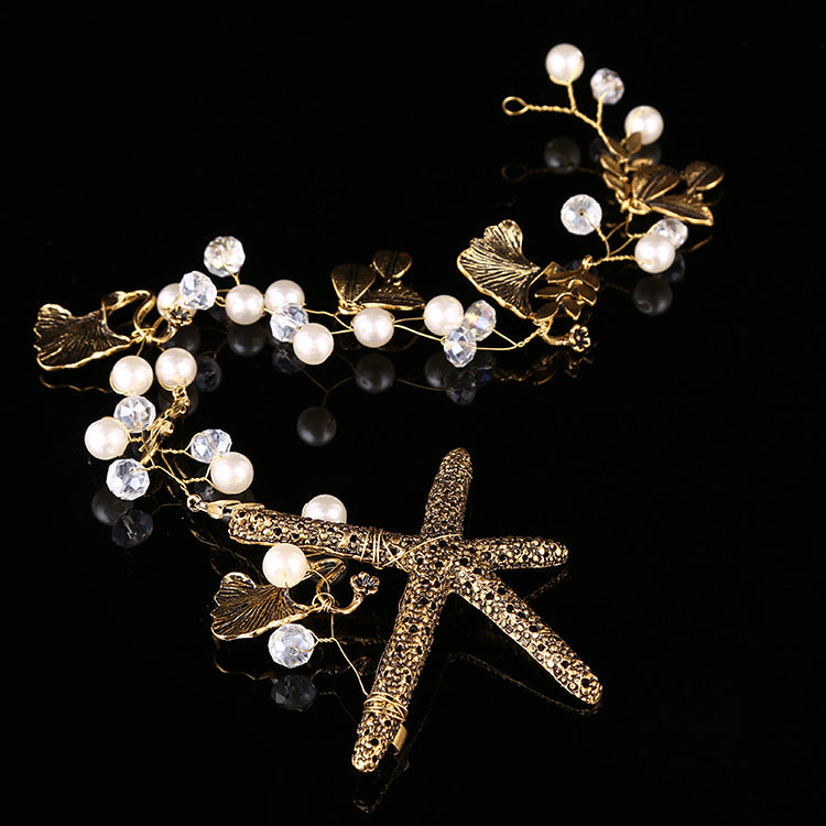 Starfish Simulated Pearl Leaf Headband