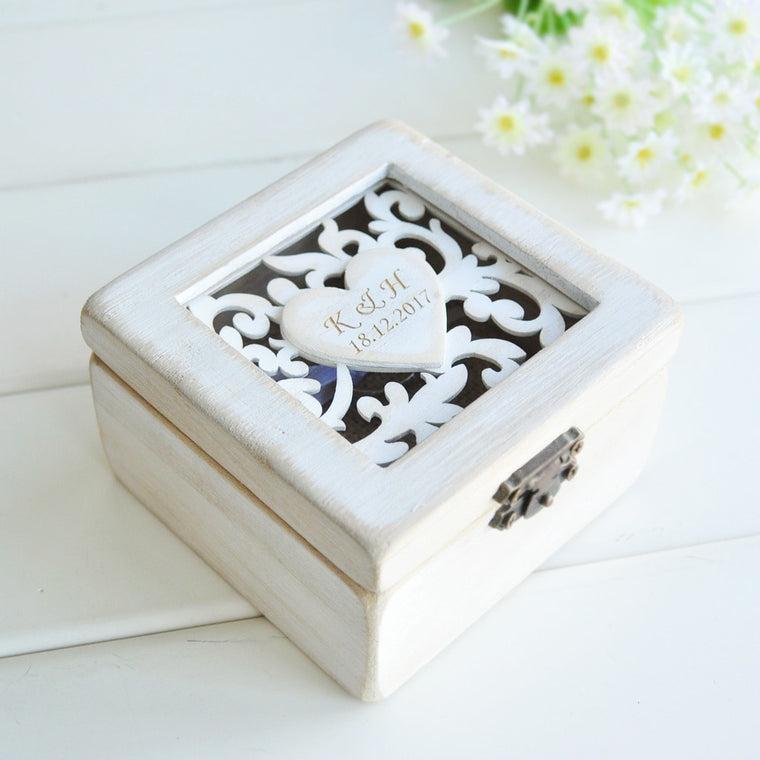 Personalised Shabby Chic Wedding Ring Box