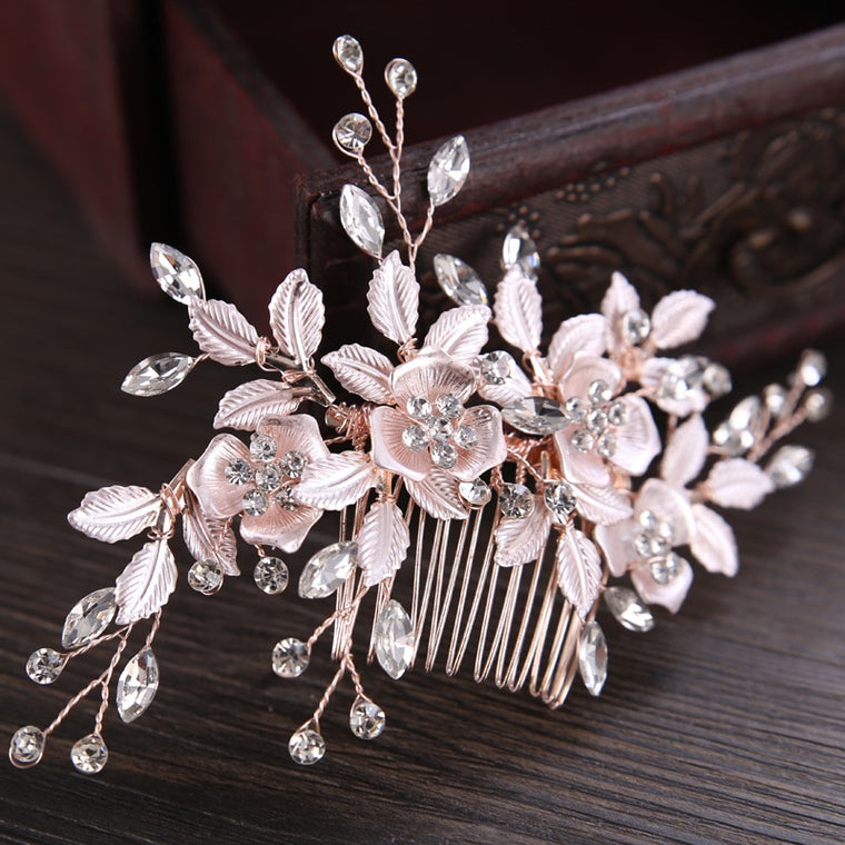 Crystal Rhinestones Flower Leaf Wedding Hair Comb