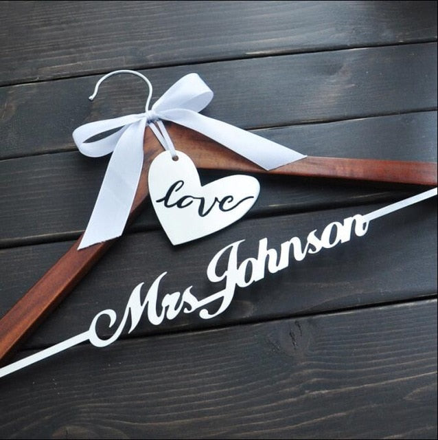 Personalised Wedding Hanger with Bow
