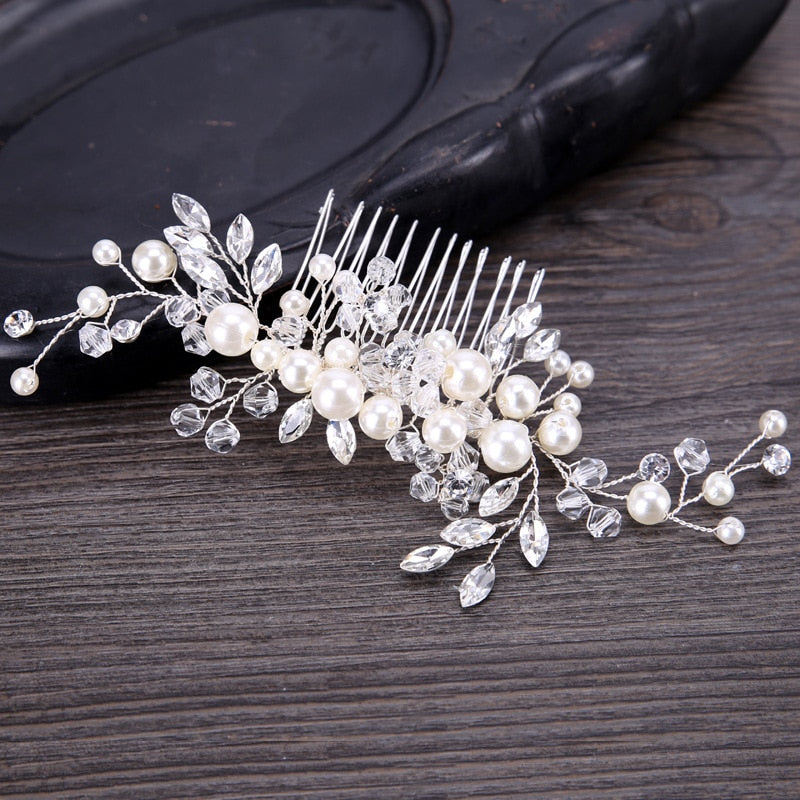 Pearl Crystal Flower Bridal Hair Comb