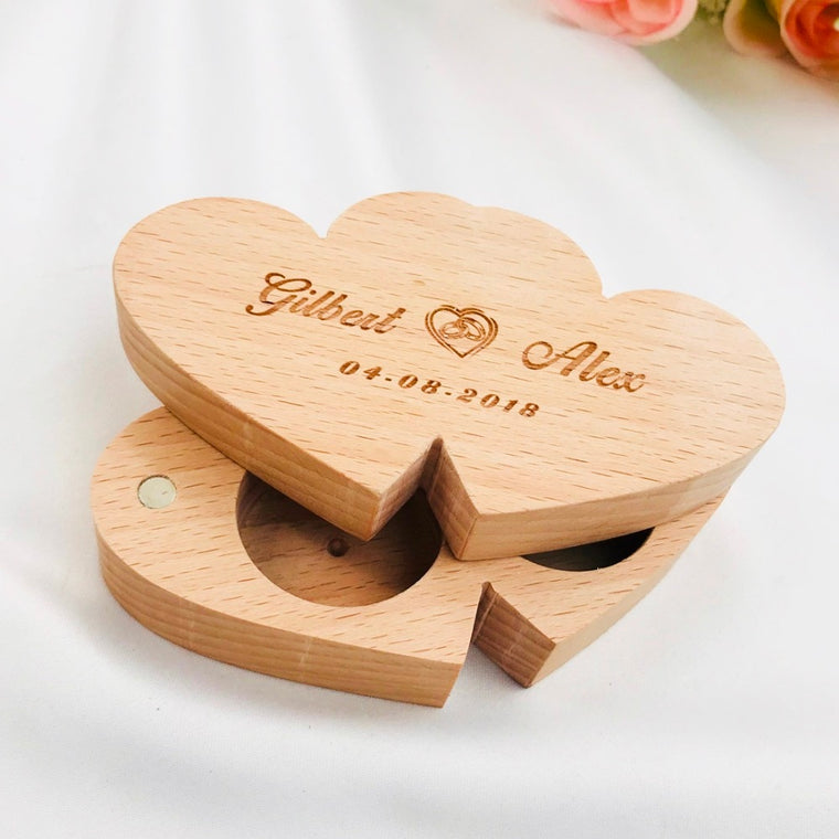 Personalised Retro Double Love Wedding Ring Box