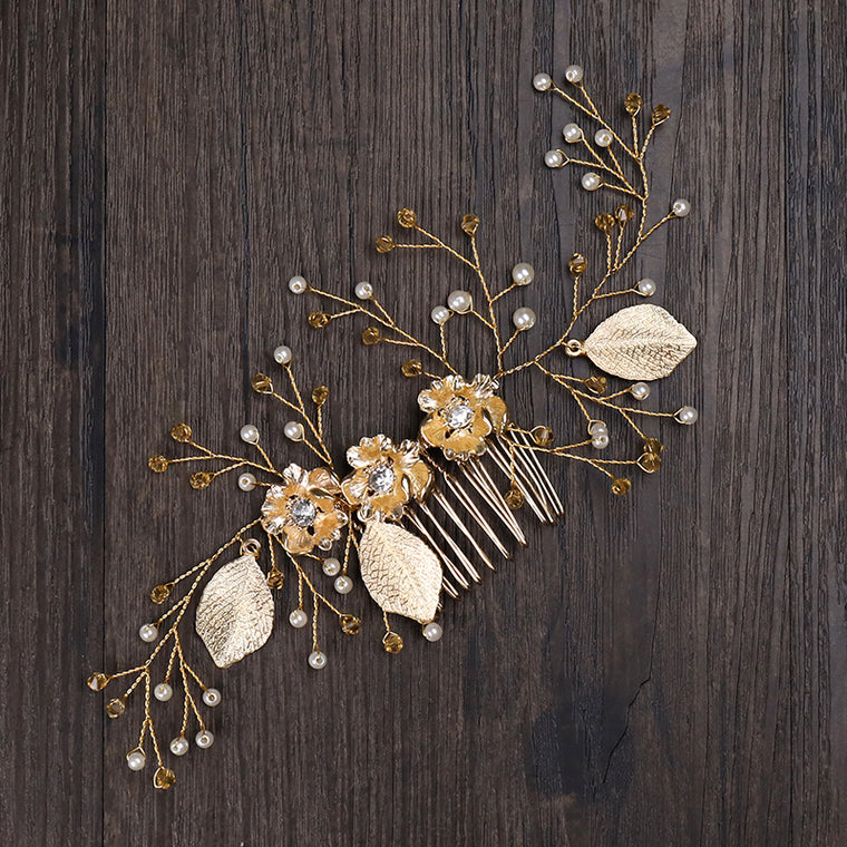 Gold Colour Leaf Floral Hair Comb