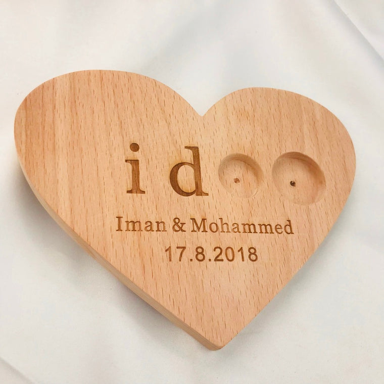 'I doo' Custom Wooden Double Ring Bearer Holder