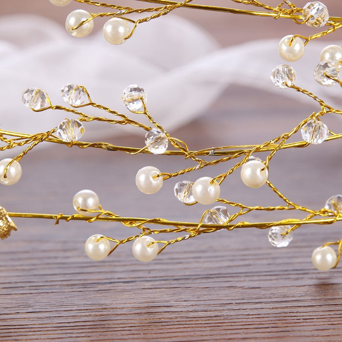 Gold Leaves Pearl Headband