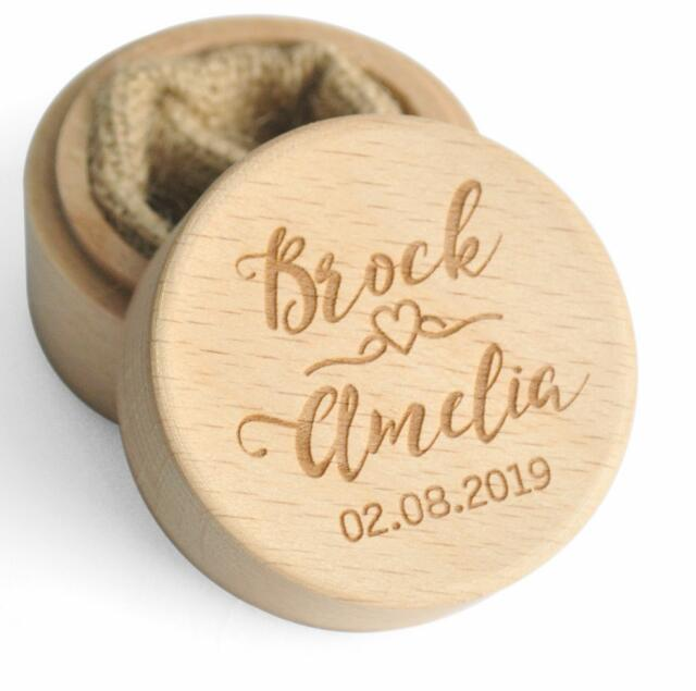 Heart Natural Wood Personalised Rustic Wedding Ring Box Holder