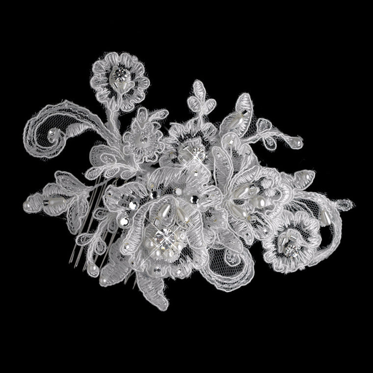 Diamond Pearl Rhinestone & Bugle Bead Embroidered Mesh Fabric Flower Hair Comb