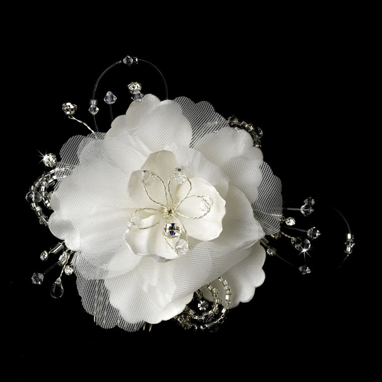 Delicate White Flower Hair Comb with Swarovski Crystals & Clear Rhinestones