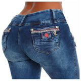 DGLAM Butt-Lifting Skinny Jeans Tummy Control Colombian Levanta Cola, Washed Blue