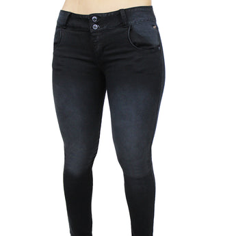 Cocoa Butt-Lifting Skinny Jeans Tummy Control Colombian Levanta Cola, Black
