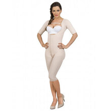 Maria E Post Surgery Braless Capri Bodysuit Shaper with Sleeves, Beige